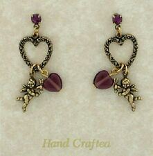 24k Gold Plated Art Deco Vintage Style Post Cherub Angel Heart Charm Earrings