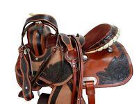 COMFY TRAIL WESTERN SADDLE 15 16 PLEASURE FLORAL TOOLED LEATHER HORSE TACK SET