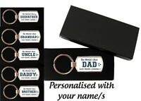 Personalised Metal Keyring Key Ring Fathers Day Dad Daddy Uncle Grandad Grandpa