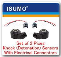 (Set of 2) Knock (Detonation) Sensor W/ Electrical Connector Fits: BMW Mercedes