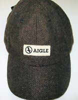 Aigle actimum men's baseball cap brwon black cheveron wool / vicose Vintage Nwt