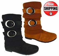 WOMENS NEW LADIES FLAT WORK MID CALF WINTER PIXIE ZIP RIDING BOOTS SIZE 3-7 SALE