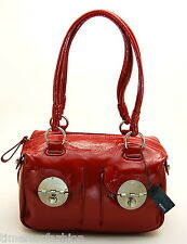 MIMCO MINI TURNLOCK ZIP TOP BAG PATENT LEATHER IN SLASHER RED BNWT RRP$425