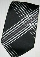 George Men's Everyday Formal Office Tie Black Silver Diagonal Striped Necktie