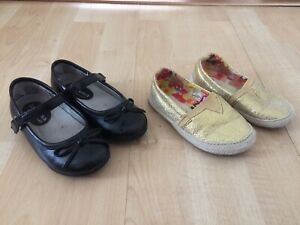 Baby Girl's Toddler Sonoma Black Shoes 6 Mary Janes Carter's Slip On Gold
