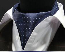 Premium - Navy & mini pois - IN SETA da uomo FOULARD' ASCOT CRAVATTA'