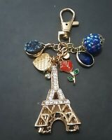 Gold Eiffel Tower Bling Purse Chain Charms/small gold heart/gold ,red...