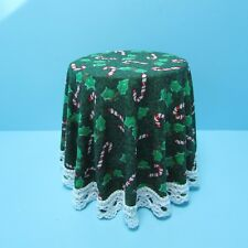 Dollhouse Miniature Christmas Skirted Candy Cane Side Table ~ CB123G
