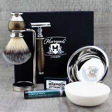 COMPLETE SHAVING SET Synthetic Brush & DE Safety Razor MEN'S KIT GIFT FOR HIM