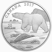 Canada 2017 Nature's Impressions #2 Polar Bear $20 Silver Prf w Edge Paw Prints