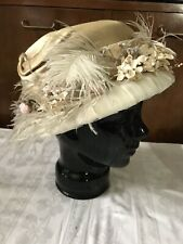 Remade Antique Edwardian Cream Silk Hat, Feathers Flowers As Is Costume!