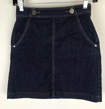 Ann Taylor Loft Sz 00 Blue Dark Wash A Line Mini Skirt