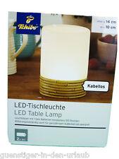 TCM Tchibo LED Tischlampe Lampe Tichleuchte Leuchte kabellos in Bambus Optik