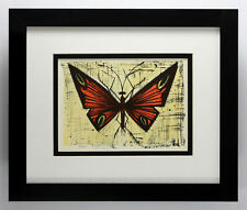 "Bernard BUFFET 1967 Color Lithograph ""Red & Yellow Butterfly"" Gallery Framed COA"