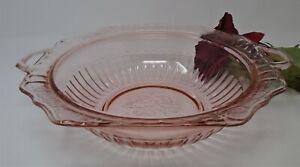 Pink Depression Glass Anchor Hocking Mayfair Open Rose Lg Handled Vegetable Bowl
