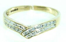 wishbone eternity ring size P R023-52 9k solid gold 9ct Gold diamond