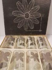 "Vintage Libbey Hostess Glassware Platinum Leaves Original Box of 8 -12 ounces 5"""
