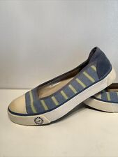 Ugg Blue Stripe Fabric Slip On Athletic Sneakers Girls Youth Size 5.5 M