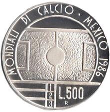 SAN MARINO LIRE 500 ARGENTO CALCIO MESSICO MONDIALI 1986 FONDO SPECCHIO PROOF