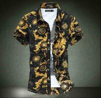 6XL Mens Short Sleeve Slim Fit Shirts Floral Printed Shirt Cotton Casual Blouse