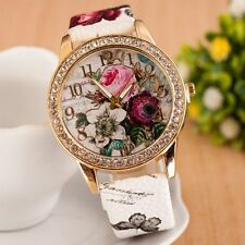 Women Fashion Watch Flower Faux Leather Rhinestone Analog Quartz Wrist Watches