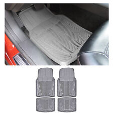 4 pc XLG. Sedan Gray Grey Front w/ Rear Utility Heavy Duty Rubber Floor Mats Set