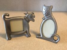Adorable Dog And Cat Shaped Silver Pewter Picture Frame