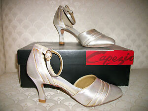 """Ballroom Latin DanceSport Shoes Capezio Nina BR33 3"""" Champagne Gold New In Box"""