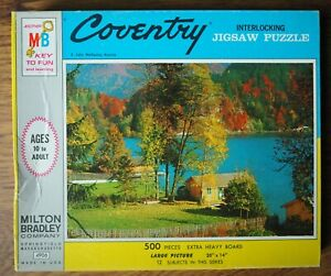 Vintage MB Milton Bradley 500 Piece Coventry Puzzle Lake Fall 20 X14 Sealed