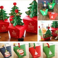 Christmas Snowman Santa Claus Gift Cookie Fudge Candy Box Favor Bag Xmas Decor