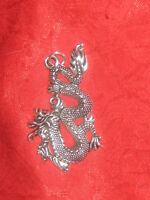 USA SELLER GOTHIC FIRE DRAGON SILVER PEWTER TONE PENDANT CHARM NECKLACE