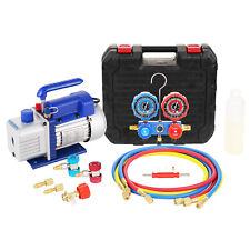 4cfm 13hp Vacuum Pump Set Hvac Refrigeration Manifold Gauge Can Tap R134a R410a