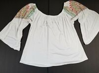 Voll Womens Small Top Embroidered 3/4 Bell Sleeve Boho Festival Blouse White