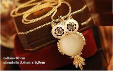 Fashion-Moda Naturale collana Gufo - Civetta owl necklace