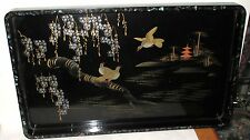 RARE VINTAGE JAPANESE MOTHER OF PEARL BLACK LACQUER BIRD BLOSSOM TEMPLE TRAY