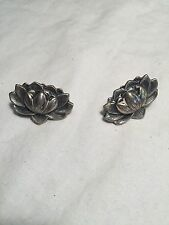 Vintage Antique 925 Sterling Silver Water Lily Screw Back Clip On Earrings