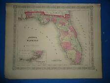 Vintage 1867 FLORIDA Map Old Antique Original Johnson's Atlas Map