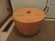 Longaberger Huge Hostess Corn Combo - Basket, Protector, Wooden Lid Used