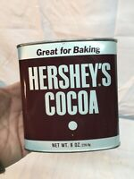 Vtg. HERSHEY'S COCOA Metal Tin 8 oz Size Empty Advertising Display U.S.A. 1988
