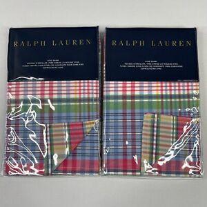 Ralph Lauren AMAGANSETT KING Pillow Sham Set of 2 20x36 Colorful Plaid
