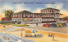 JACKSONVILLE BEACH FLORIDA~OCEANIC HOTEL~OPEN ALL YEAR POSTCARD 1941 PSTMK