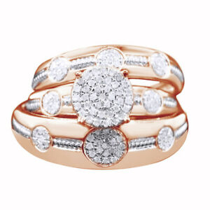 0.37 Ct Round Simulated 18K Rose Gold Over Trio Set Engagement Ring Wedding Band