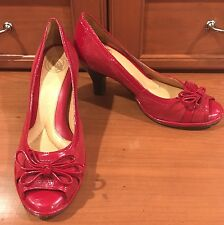 """Nurture Red Suede & Patent Leather 3"""" Heel Peep Toe Pumps Shoes Womens 6 M New!"""