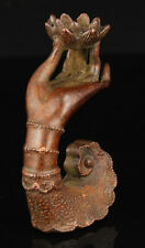 Chinese Vintage Hand-Carved Solid Red Copper Kwan-Yin Hand Incense Holder