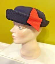 Vintage Woman'S Black Straw Hat W Red Accent Great Easter Hat