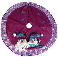 48 Inch Beautiful Pink & Purple Christmas Tree Skirt With Santa & Snowman DS25