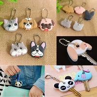 Key Ring Cap Head Silicone Cover Lovely Animals Shape Key Case Shell Keychain C