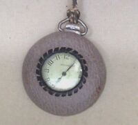 Antique Ingraham Pocket Watch 1940s Ingraham Co. Leather Around Face. Works.
