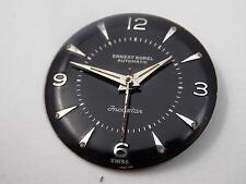 Ernest Borel Mens Vintage 25.43mm Watch Dial Black Silver Markers Hands NOS