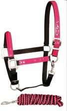 Harry Horse Head Collar And Lead Rope Set Pink And Black Fashion Pony